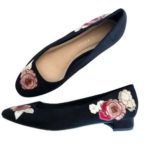 Kelly & Katie Suede Embroidered Floral Flats